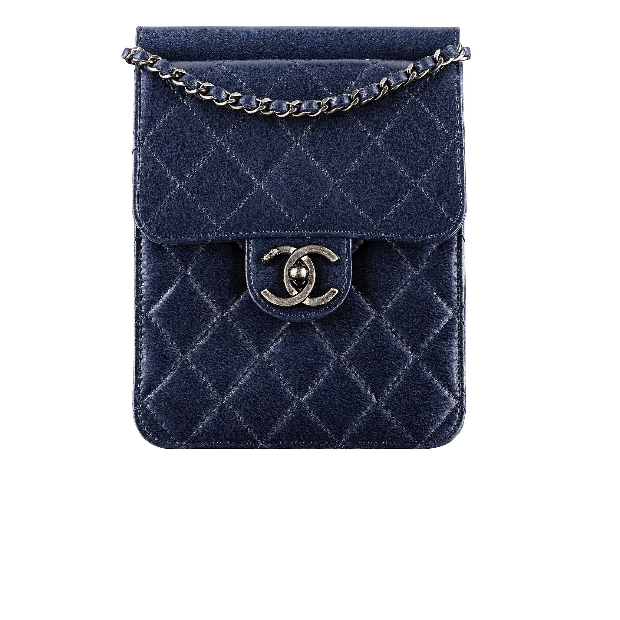 Chanel Navy Blue Quilted Leather Small Bag With a CC LockPhoto ...
