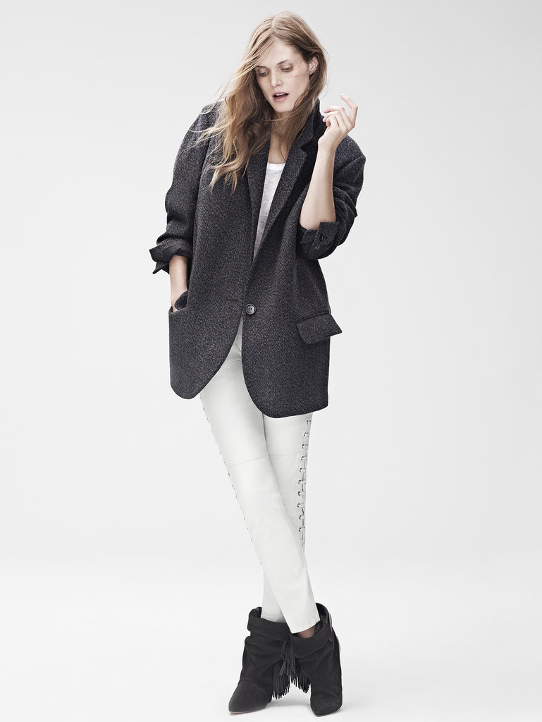Isabel Marant for H&M Coat ($199), long-sleeved t-shirt ($40), leather trousers ($299), leather boots ($299) Photo courtesy of H&M