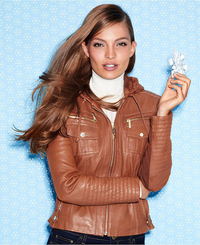 MICHAEL Michael Kors Jacket, Hooded Leather