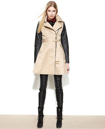 BEBE Coat, Asymmetrical Mixed-Media Belted Trench Coat