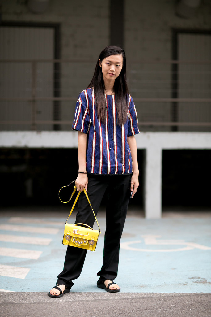 Liu Wen kept it simple in stripes.