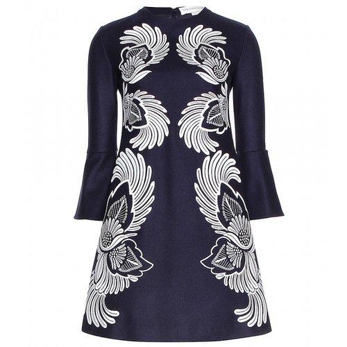STELLA Blue Carine Embroidered Wool Dress