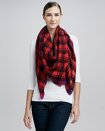 MARC by Marc Jacobs Scarlette Plaid Scarf, Cranberry