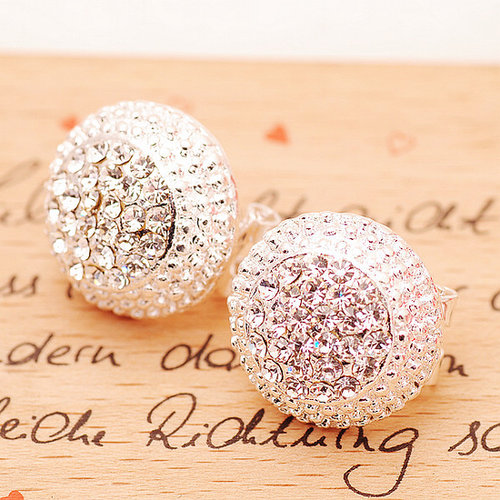Image of Shiny Rhinestone Cap Earrings