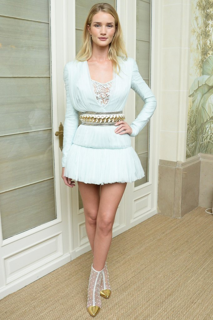 Rosie Huntington-Whiteley was white hot at the Paris Balmain afterparty.