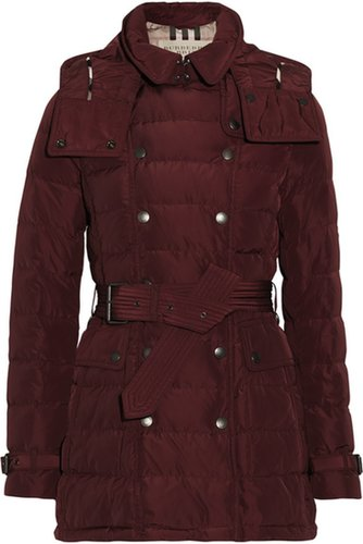 BURBERRY BRIT Green Hooded Quilted Down Coat