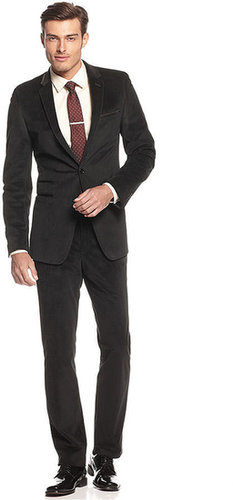 Andrew Fezza Suit, Black Velvet Solid Slim Fit