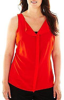 Worthington® Ruffled Pullover Woven Top - Plus