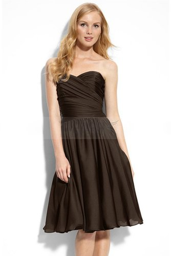 Choclate Strapless Bridesmaid Dress with Cute Sweetheart Neckline
