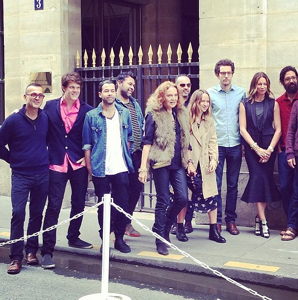 We weren't the only Americans in Paris. The CFDA organized a global showcase of emerging US designers, including The Elder Statesman, Jennifer Fischer, Wes Gordon, and A.L.C. And, when we paid them a visit, guess who stopped by for a group picture? Diane von Furstenberg!  Source: Instagram user popsugarfashion