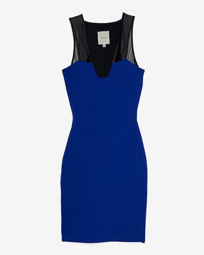 Mason By Michelle Mason Sheer Mesh Tank Strap Contrast Knit Dress
