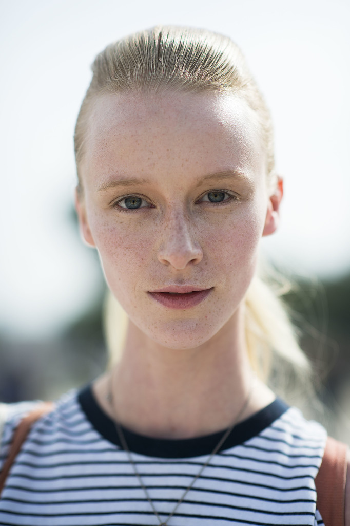A slicked-back ponytail pairs nicely with fresh-faced makeup. Source: Le 21ème   Adam Katz Sinding
