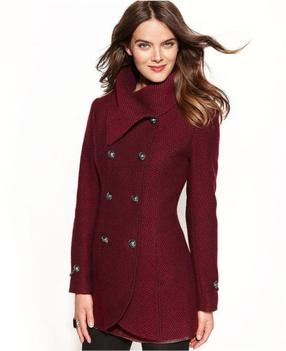 Jessica Simpson Coat, Double-Breasted Envelope-Collar Pea Coat