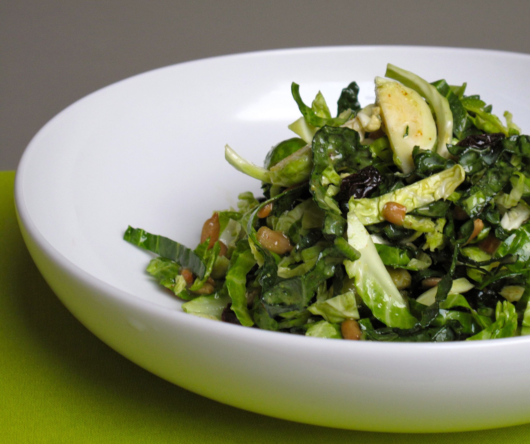 Shredded Kale and Brussels Sprouts Salad