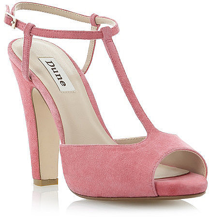 DUNE Suede T-Bar Block Heeled Sandal
