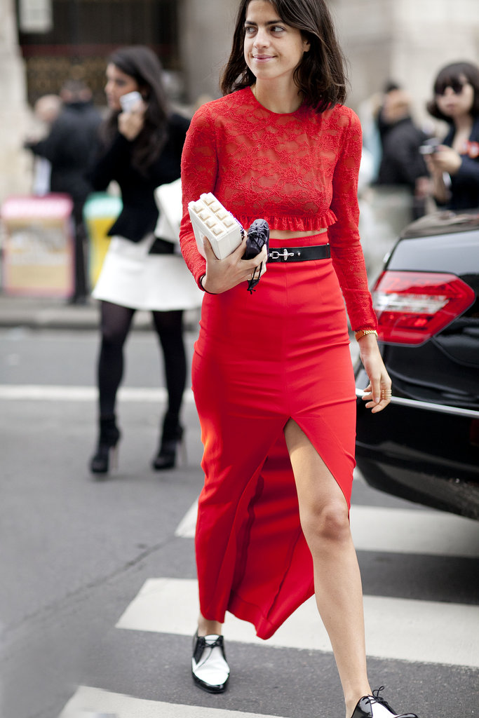 Leandra Medine worked a brilliant shade of red but kept the footwear a little more casual.