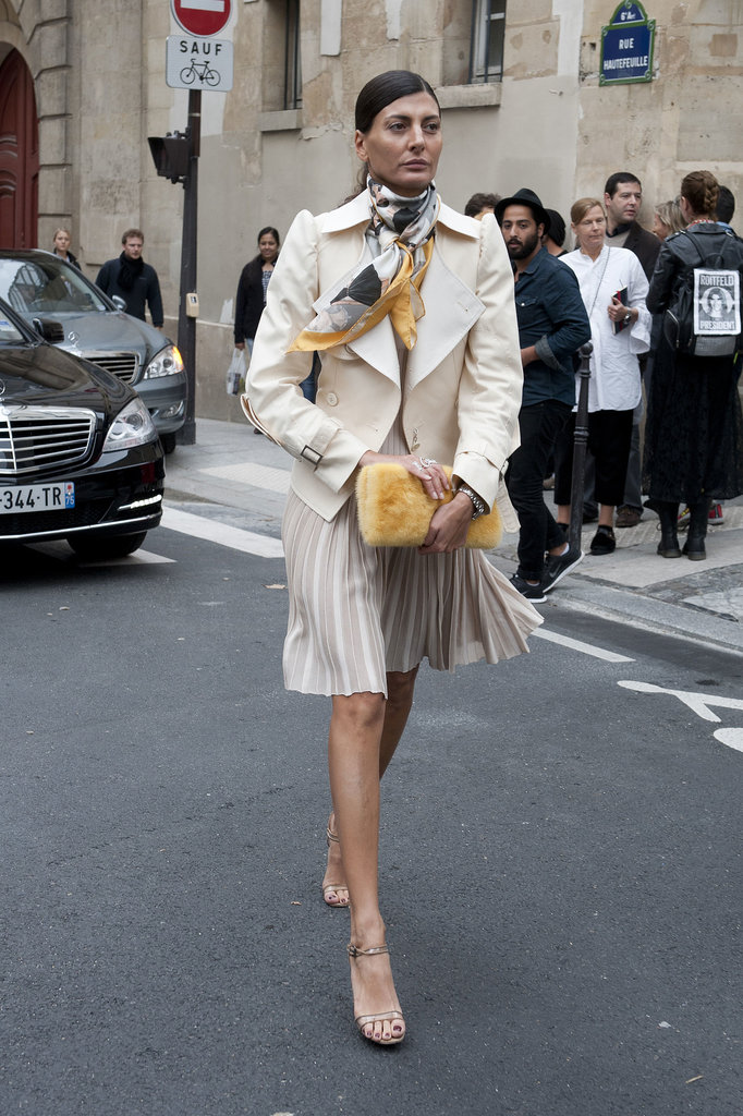 Giovanna Battaglia stayed polished while on the go.