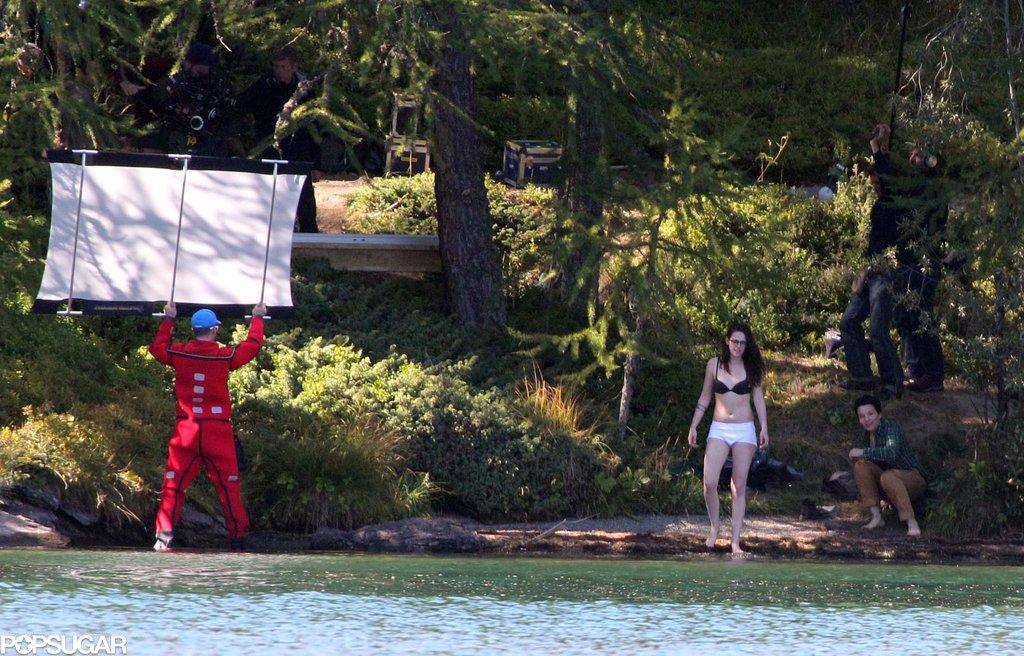Kristen Stewart and Juliette Binoche prepared to get wet on set.