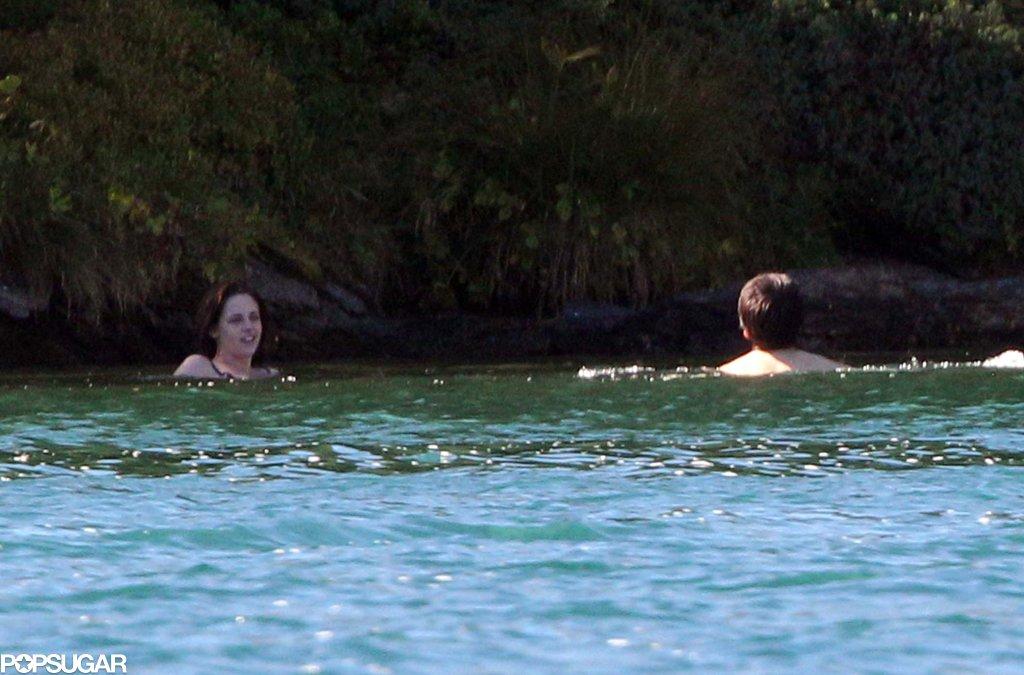 Kristen Stewart and Juliette Binoche swam around on set.