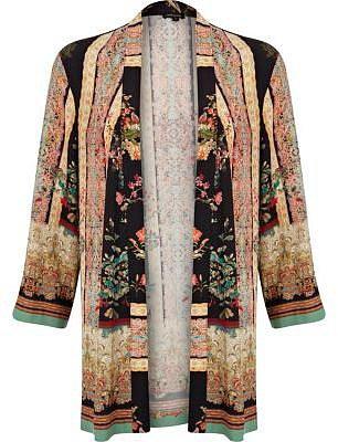 Pink oriental border print kimono