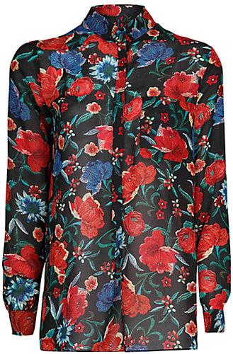 Mango Floral Print Flowy Blouse, Multi