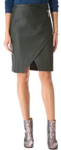 Cedric charlier Asymmetrical Leather Skirt
