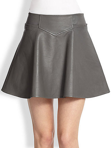 Thakoon Addition Flared Leather Skirt