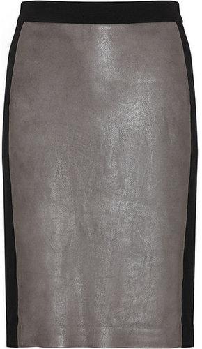 DKNY Ponte-paneled leather skirt