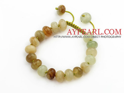 Marquise Shape Three Colored Jade Knotted Adjustable Drawstring Bracelet