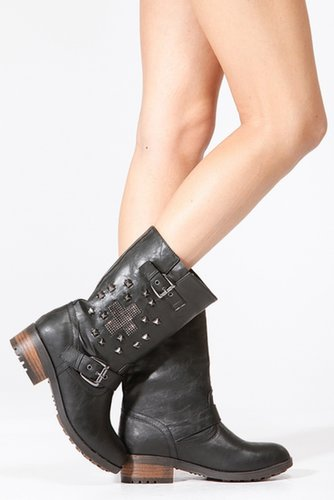 Bamboo Cross Studded Riding Boots