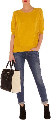 Karen Millen Kq145 Sporty Knit Jumper Yellow