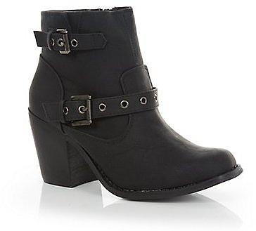 Black Eyelet Strap Block Heel Ankle Boots
