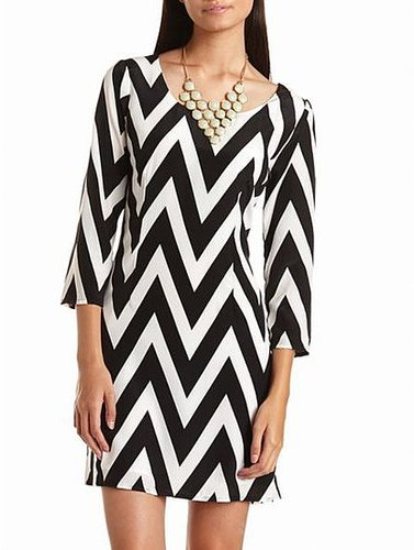 Zip-Back Chevron Shift Dress