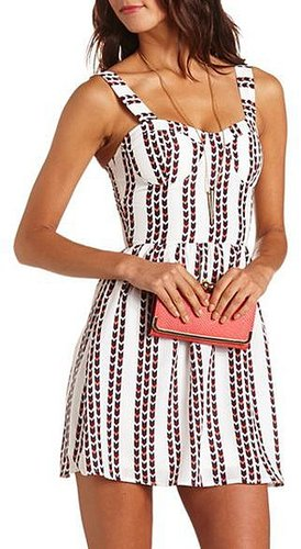 Woven Chevron A-Line Dress