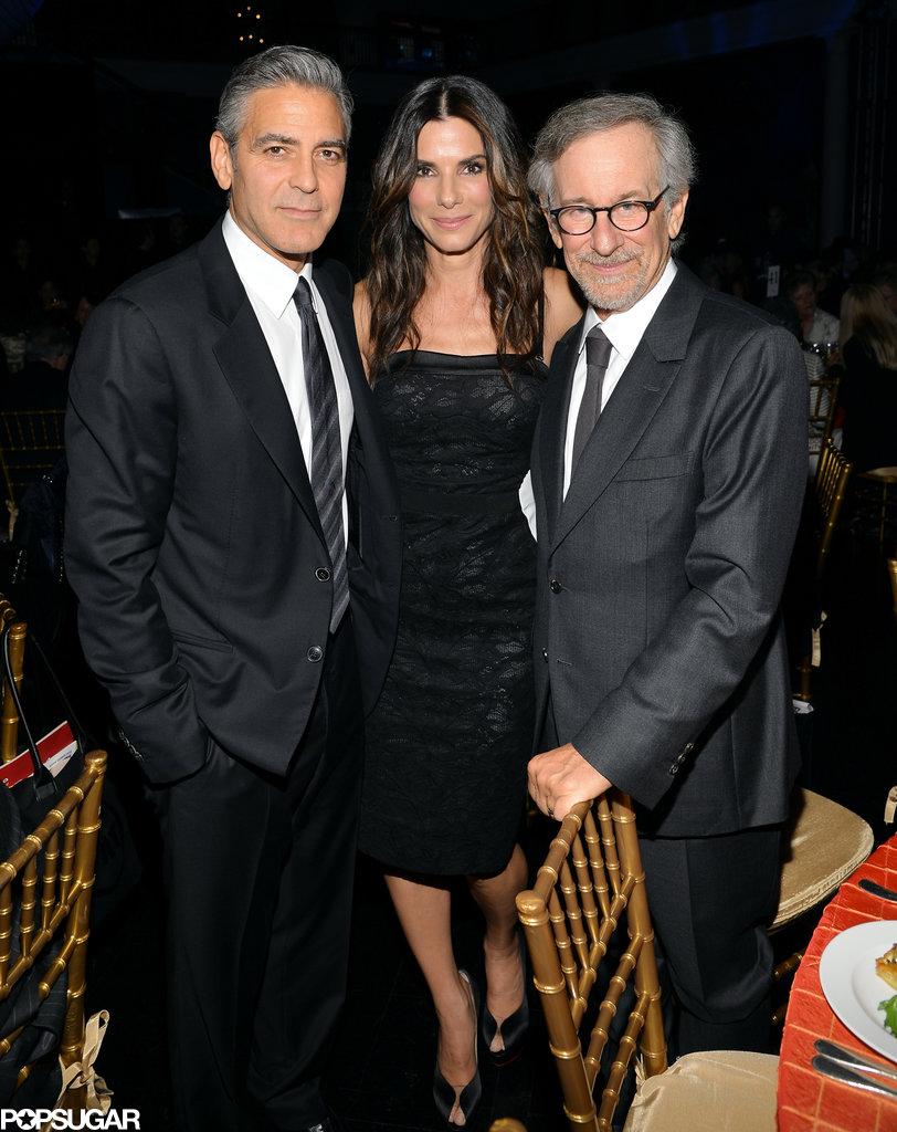 George Clooney met up with Sandra Bullock and Steven Speilberg.