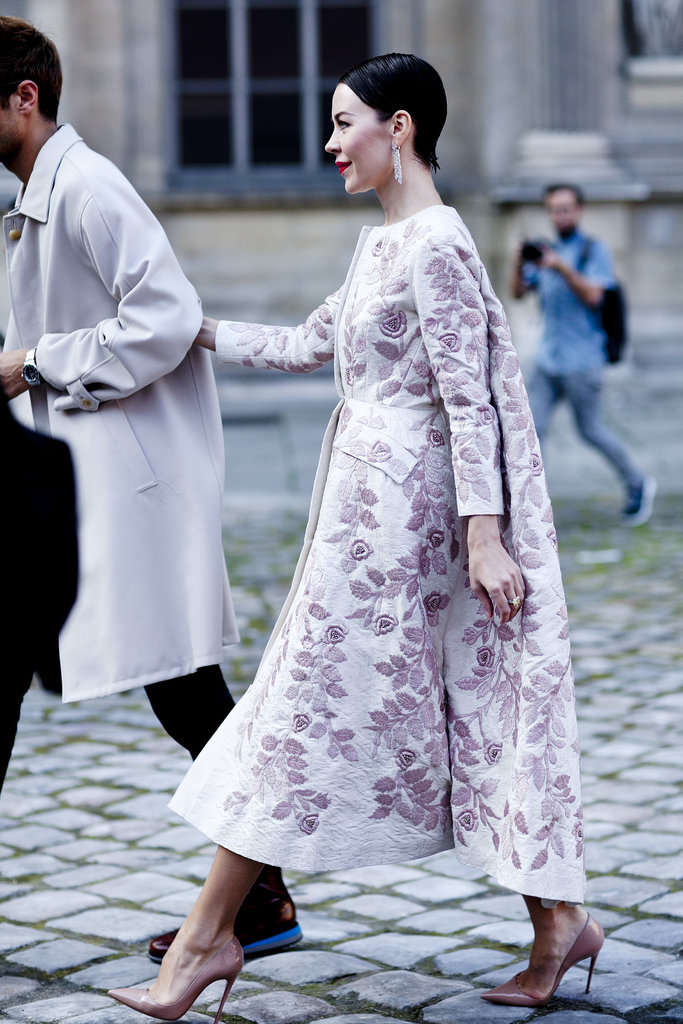 A classic peacoat pales in comparison with a dramatic style like this lavender beauty on Ulyana Sergeenko.