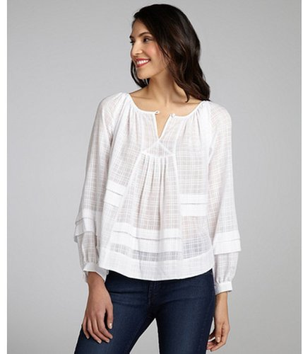Rebecca Taylor white cotton 'Patched' long sleeve peasant blouse