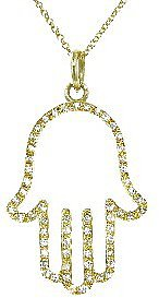 Jennifer Meyer Open Hamsa Hand Pendant with Diamonds - Yellow Gold