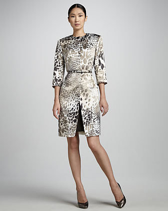 Albert Nipon Animal Print Coat and Sheath Set Set