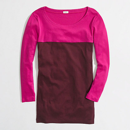 Factory three-quarter sleeve colorblock tee