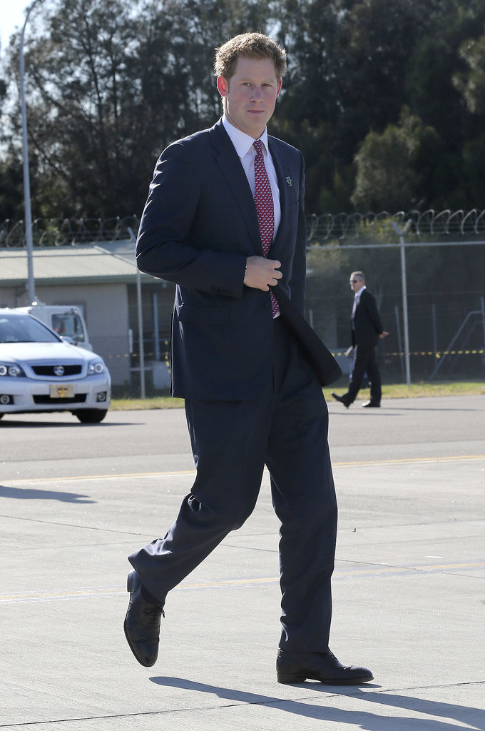 Prince Harry walked to his plane in Sydney to depart for Perth.