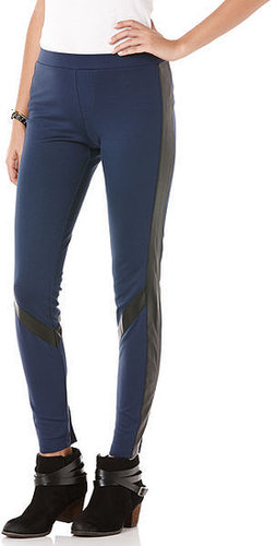 Scuba legging with faux leather detail