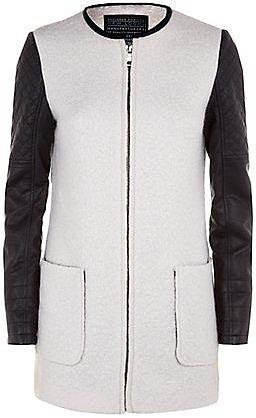 Cream Contrast Sleeve Collarless Coat