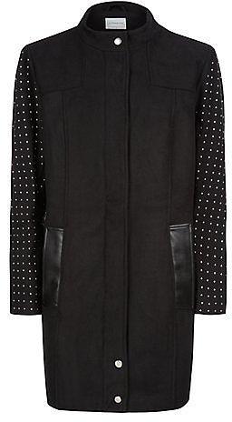 Junarose Black Stud Sleeve Longline Jacket