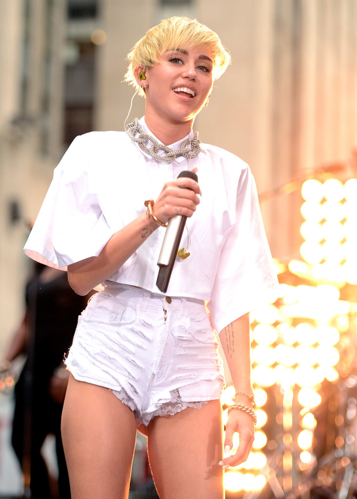 """Miley Cyrus drew a large crowd of fans when she performed on Today in NYC on Oct. 7. In an interview with the hosts, the singer also put an official end to her feud with Sinead O'Connor, saying, """"It's all good,"""" and adding that she really respects her as an artist. She also said that she's the happiest she's ever been in her """"whole life,"""" despite all the controversy over her new look."""