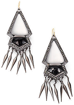 Alexis Bittar Black Onyx, Marcasite and Lucite Fringe Earrings