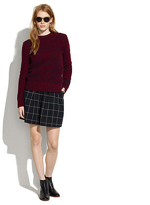 Windowpane Plaid Skirt