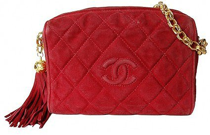 very good (VG) Chanel Red Quilted Suede Tassel & Gold Chain Shoulder Bag