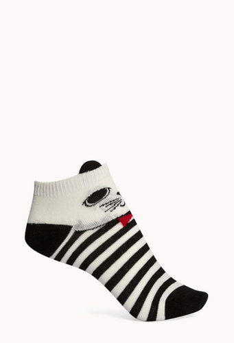 FOREVER 21 Cat Attack Ankle Socks