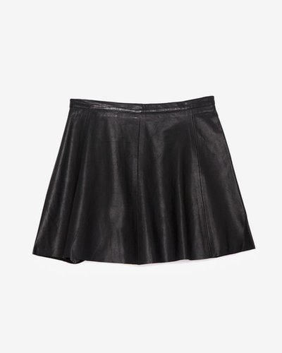 Love Leather Exclusive A-line Leather Skirt: Black